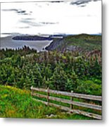 Fence In Fields At Long Point In Twillingate-nl Metal Print