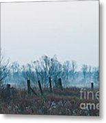 Fence In The Fog Metal Print