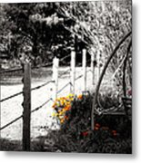 Fence Near The Garden Metal Print by Julie Hamilton