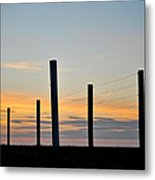 Fence Posts At Sunset Metal Print