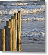 Fence Posts Into The Sea Metal Print