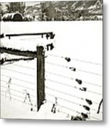 Fence Pulls In Winter Metal Print