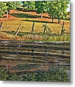 Fence Reflection Metal Print