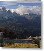 Fence With A Mountain Range Metal Print