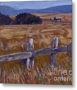 Fenced Field - Point Arenas Ca Metal Print