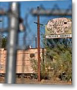 Fenced In  Abandoned 1950's Motel Trailer Metal Print