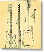 Fender Precision Bass Guitar Patent Art 1953 Metal Print