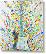 Fender Stratocaster - Watercolor Portrait Metal Print
