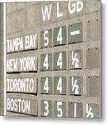 Fenway Park Al East Scoreboard Standings Metal Print