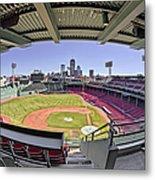 Fenway Park And Boston Skyline Metal Print