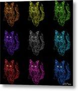 Feral Cat Pop Art - 9905 F M - Bb Metal Print