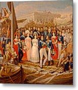 Ferdinand Vii Disembarking In The Port Of Santa Maria, 19th Century Oil On Canvas Metal Print