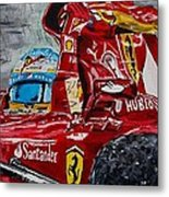 Fernando Alonso And Ferrari F10 Metal Print
