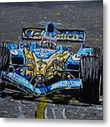 Fernando Alonso In Blue Metal Print