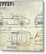 Ferrari 250 Gt Blueprint Antique Metal Print