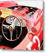 Ferrari Cockpit Monterey Watercolor Metal Print
