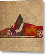 Ferrari Enzo 2004 Classic Car Watercolor On Worn Distressed Canvas Metal Print