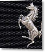 Ferrari's Horse Logo In Chrome Metal Print