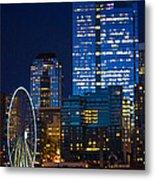 Ferris Wheel Seattle Harbor Metal Print