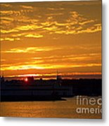 Ferry At Sunset Metal Print