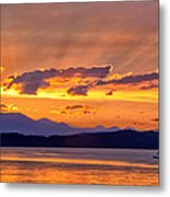 Ferry Crossing Sunset Metal Print
