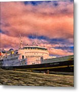 Ferry Dockside At Cold Bay Metal Print