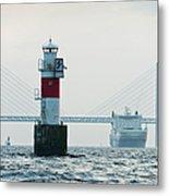Ferry On Sea, Oresund Bridge In Metal Print