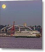 Ferry Under A Full Moon Metal Print