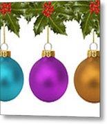 Festive Christmas Baubles Metal Print