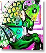 Festive Green Carnival Horse Metal Print