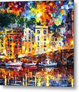 Few Boats - Palette Knife Oil Painting On Canvas By Leonid Afremov Metal Print