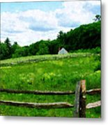 Field Near Weathered Barn Metal Print