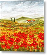 Field Of Dreams - Poppy Field Paintings Metal Print