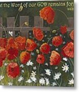 Field Of Poppies With Scripture Metal Print