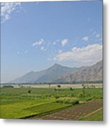 Fields Mountains Sky And A River Swat Valley Pakistan Metal Print