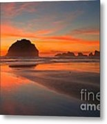 Fiery Bandon Beach Metal Print by Adam Jewell
