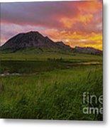 Fiery Sky Over Bear Butte Metal Print