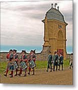 Fife And Drum Parade In Louisbourg Living History Museum-1744-ns Metal Print