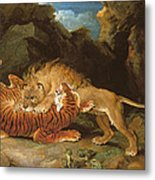 Fight Between A Lion And A Tiger, 1797 Metal Print