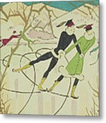 Figure Skating  Christmas Card Metal Print by American School