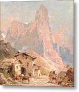 Figures In A Village In The Dolomites Metal Print