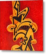 Figures In Red Metal Print by Dayna Reed