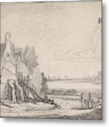 Figures On A Path Along A Dilapidated House On A River Metal Print