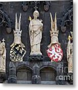 Figures On Staromestska Vez In Prague Metal Print