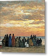 Figures On The Beach In Trouville Metal Print