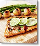 Fillet Of Salmon With Vegetables Metal Print