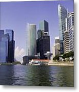 Financial District Of Singapore And View Of The Water Metal Print