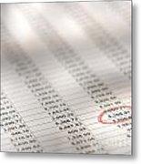 Financial Spreadsheet Metal Print
