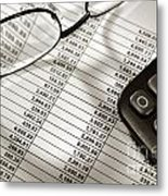 Financial Spreadsheet With Calculator And Glasses Metal Print