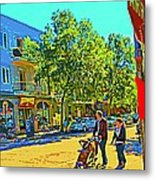 Fine Day For Baby Strollers And Bikes Art Of Montreal Street Scene Across Maitre Gourmet Cafe Metal Print